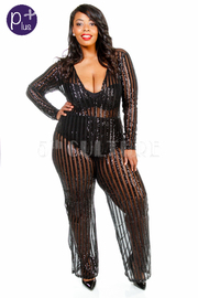 Plus Size V-neck Sheer Palazzo Sequin Cocktail Jumpsuit