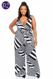 Plus Size Mixed Lines Surplice Jumpsuit