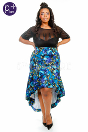 Plus Size Floral Ruffle Hi Lo Tango Skirt