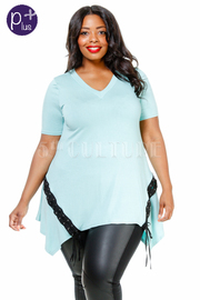 Plus Size V-neck Jersey Flowy Eyelet Side Top