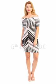 Off Shoulder Lined Pattern Tube Dress