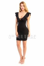 Deep V Flounce Sexy Club Dress