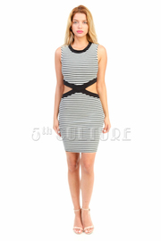 Striped Cutout Waist Tube Dress