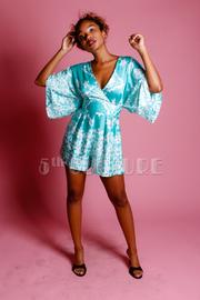 Surplice Printed Kimono Romper