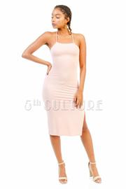 Criss Cross Straps Slit Midi Dress