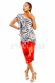 One Shoulder Zebra Print Flower Midi Dress