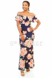 Off Shoulder Ruffle Floral Maxi Dress
