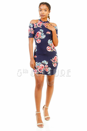 Cold Shoulder Floral Tube Dress