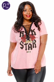 Plus Size Rock Star Girl Roses Graphic Eyelet Tie Top