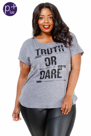 Plus Size Truth Or Dare Print Short Top