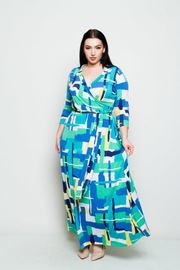 Plus Size Surplice Tie Waist Abstract Maxi Dress