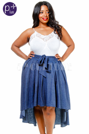 Plus Size Classic Hi Lo Skater Chambray Skirt