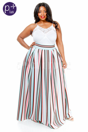 Plus Size Colored Lines Maxi Summer Skirt
