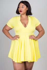 Plus Size Brilliant V-neck Skater Mini Dress