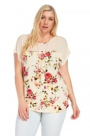 Plus Size Casual Floral Sheer Blouse