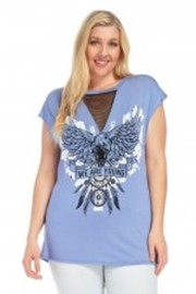 Plus Size Dream Catcher Eagle Printed Tee