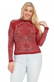 Plus Size All Over Stoned Long Sleeved Top