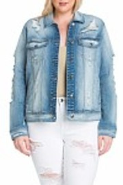 Plus Size Light Denim Distressed Casual Jacket