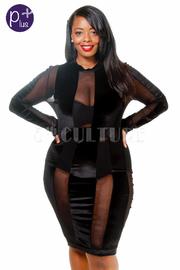 Plus Size Sexy Striped Holiday Velvet Mesh Bodycon Dress