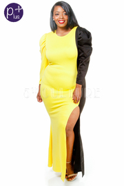 Plus Size Two Toned Long Sleeved Bubble Slit Maxi Dress