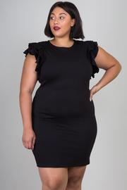 Plus Size Ruffled Zipper Trim Cute Tube Dress