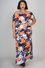 Plus Size Off Shoulder Floral Maxi Summer Dress