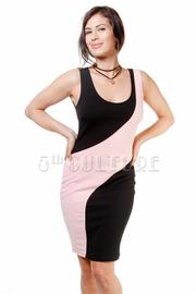 Cute Wavy Lined Contrast Tube Dress