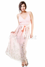 Spring Roses Sheer Maxi Spaghetti Strap Dress