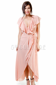 Ruffled Wrap Maxi Spring Dress