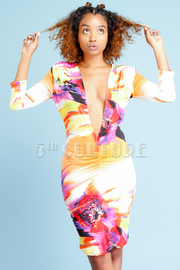 Abstract Printed Deep Sexy Fit Dress