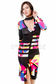 Long Sleeved Colorblock Striped Tube Dress
