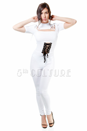 Webbed Shoulder Tie Up Hi Neck Sexy Jumpsuit