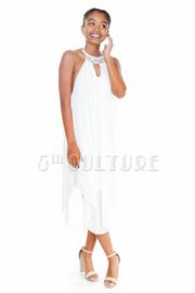 Beaded Neckline Glittery Sheer Dress
