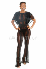 Sexy In See Through Striped Mesh Ruffled Jumpsuit