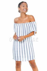 Off Shoulder Striped Tunic Dress