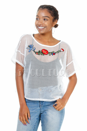 Fashion Rose Patch Net See Through Top