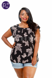 Plus Size Summer Floral Short Sleeved Top