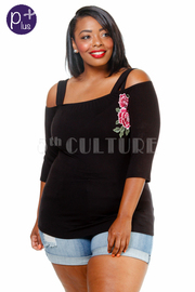 Plus Size Peek A Boo Floral Patch Top
