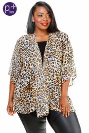 Plus Size Open Leopard Sheer Cardigan