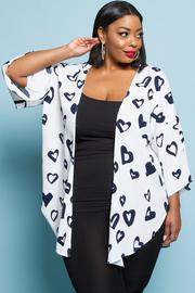 Plus Size All Over Hearts Printed Kimono Cardigan