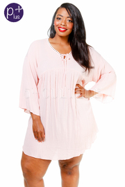 Plus Size Long Sleeved Solid Tunic Dress