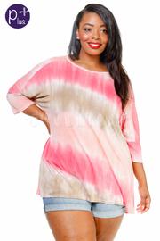 Plus Size Tie Dye Loose Striped Top