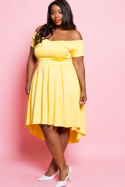 Plus Size Off Shoulder Pretty In Flared Pleat Dress