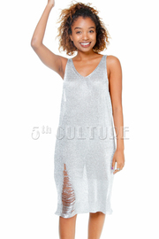 Distressed Ramie Metallic Tunic Dress