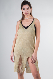 Metallic Ramie Tank Distressed Dress