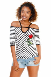 Cold Shoulder Striped Floral Patch Top