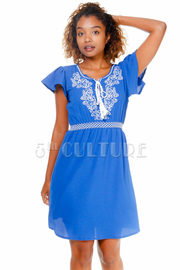 Embroidery Design Stitch Flared Dress