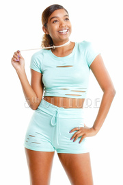 Distressed Yoga Mini Cropped Shorts Set
