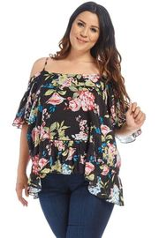 Plus Size Cold Shoulder Floral Peasant Blouse
