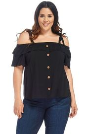 Plus Size Tie Strap Button Down Summer Top